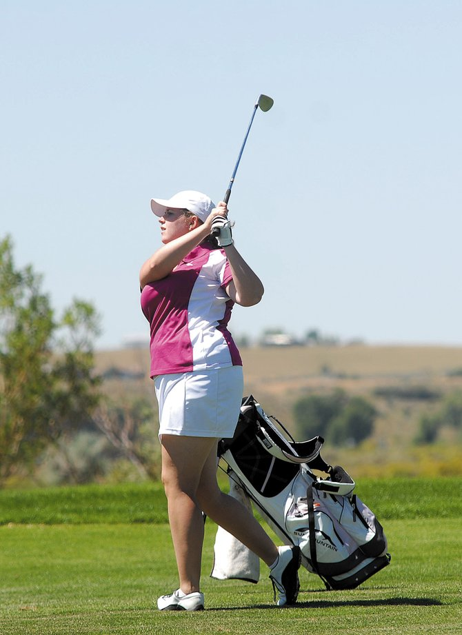 Amber Nicholson, pictured above in a tournament last year, shot a 131 net score during the 25th annual Silver Bullet Classic two-day golf tournament Saturday and Sunday at Yampa Valley Golf Course. Nicholson, a Craig resident, said she had to adjust her swing the second day, earning her a one-over-par 73 on Sunday and the top net score in the championship flight.