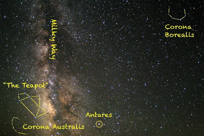 Two celestial crowns adorn our summer sky, Corona Borealis and Corona Australis. The star clouds of the Milky Way separate the twin diadems. Keep a binoculared eye on the star R Coronae Borealis to catch it in one of its unusual disappearing acts.