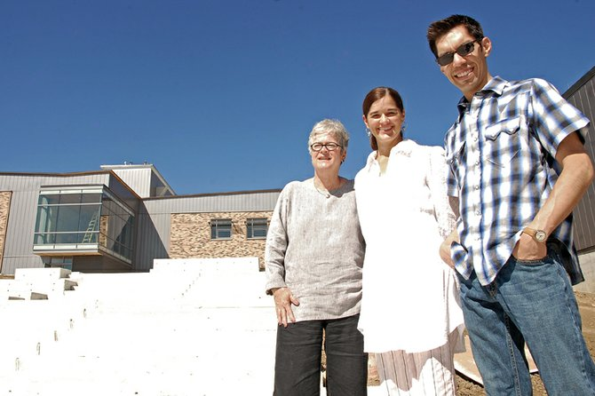 Three Denver-based art curators stand Wednesday at Colorado Northwestern Community College's new Craig campus. The three were invited to Craig to select artwork submitted to the college by Northwest Colorado artists. The college seeks to adorn its halls with original art. Pictured from left are Jil Rosentrater, Amy Laugesen and Michael Chavez.