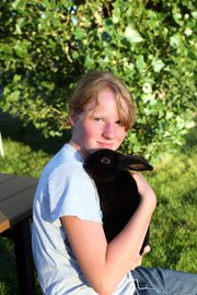 Emma Balstad, 12, poses with her rabbit, Quill, on July 20 at her home in Maybell. In her fourth year of 4-H, Emma balances four animal projects with cake decorating. She said 4-H teaches her important life skills and keeps her busy during the summer months.