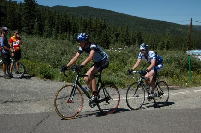 Jeffrey Gay, left, climbs Saturday during the Mount Evans Hill Climb. Gay finished sixth in the junior 17 to 18 division. A number of Steamboat cyclists performed well during the race Saturday and came away with high finishes.