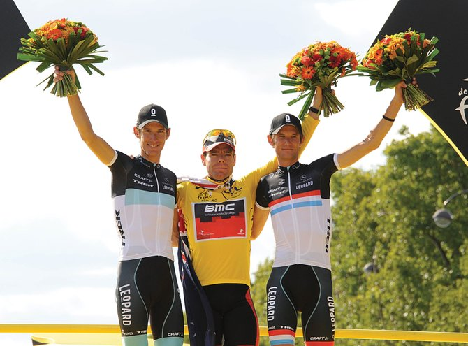 The USA Pro Cycling Challenge got a coup this week when the top three riders from this month's Tour de France confirmed their plans to ride in next month's inaugural stage race through Colorado. Andy Schleck, left, of team Leopard-Trek, will train in Steamboat Springs in the week leading up to the race. Cadel Evans, center, won the Tour de France, with Andy Schleck's brother, Frank Schleck, right, finishing third.