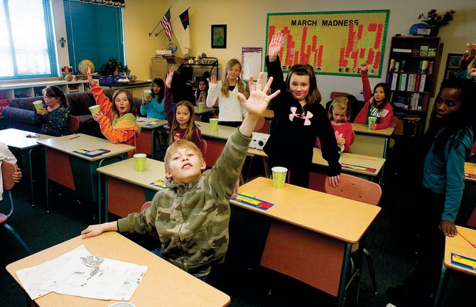Christian Heritage School has lowered their kindergarten class tuition rate to $2,300 for the upcoming school year in an attempt to attract more students at a time when private schools in Steamboat are seeing lower enrollment. Above, Christian Heritage elementary student Jameson Allee raises his hand during a class in April.