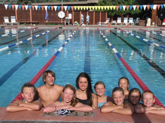 Steamboat Springs Team Lightning swim team members, from left, Frank Ruppel, Brenden Carta, Samantha Terranova, Amy Brodie, Parker Kortas, Avery Harrington, Lily Starkey, Lucy Wilson and Reilly Mewborn recently competed at the Colorado Swimming Long Course State Championships in Denver. 