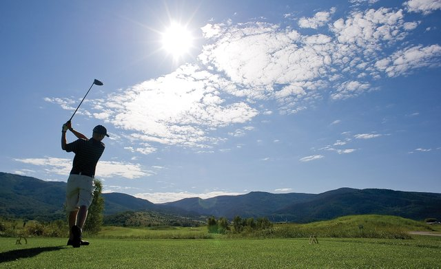 Steamboat Springs High School golfer Sam Samlowski plays at Haymaker Golf Course on Wednesday afternoon. Samlowski was one of the many high school golfers who came out for this year's team who are hoping to make the varsity lineup.