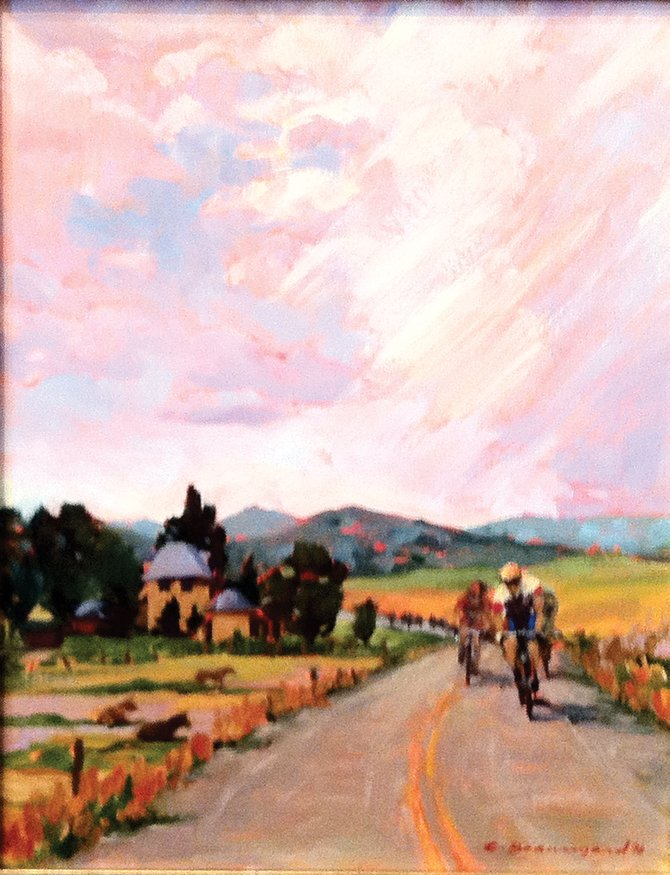 Chula Beauregard's oil painting was selected as the poster for the Steamboat stages of the USA Pro Cycling Challenge on Aug. 26 and 27. The original artwork is at Wild Horse Gallery of Steamboat Springs and up for auction. Twenty percent of the proceeds go to Routt County Riders.
