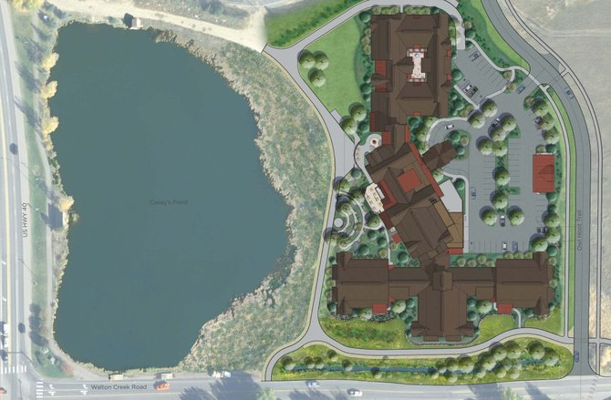 An artist's rendering displays the 121,000-square-foot Casey's Pond senior citizen community.