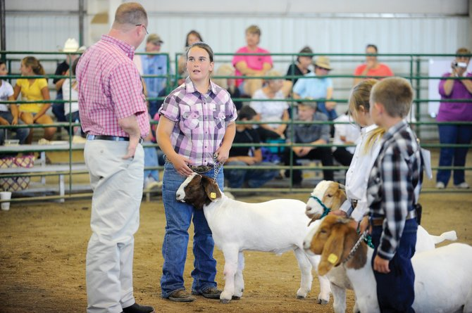 Rachel Rolando, 11, of Hayden, talks to judge Travis Hoffman about her Boar goat during the 4-H goat show Thursday at the Routt County Fair. Her goat was named the grand champion market goat.