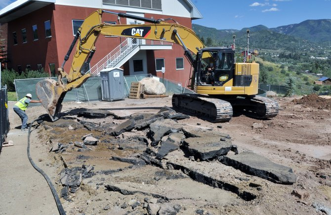 Construction crews work on the foundation for a new auditorium Thursday at the Colorado Mountain College's Alpine Campus. The college held a groundbreaking ceremony for their new academic facility Thursday night.