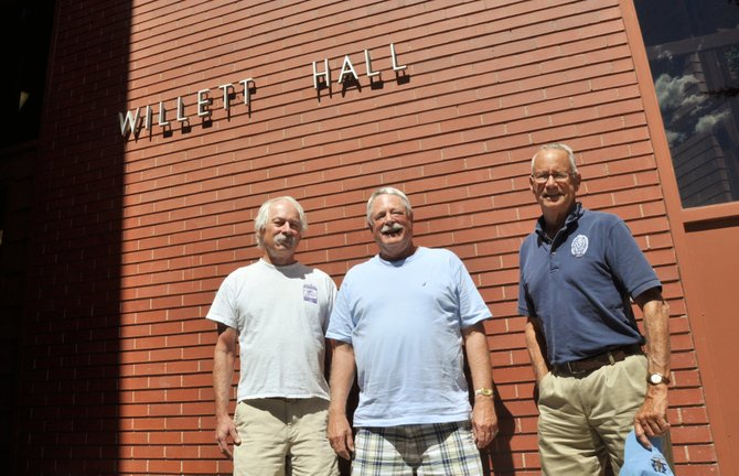 Yampa Valley College alumni, from left, Willy Markowitz, Charlie Eckstrom and Bob Sides stand in front of Colorado Mountain Colleges Willett Hall, one of the colleges first academic buildings in Steamboat.