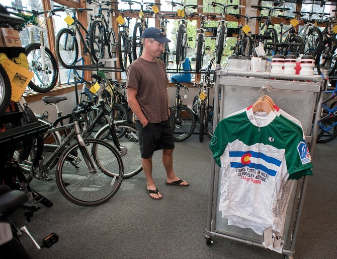 George Lochhead, of Golden, stopped by Steamboat Ski & Bike Kare in downtown Steamboat Springs on Thursday afternoon to check out the store's merchandise. Lochhead was visiting Steamboat Springs to watch racers in this year's USA Pro Cycling Challenge when it rolls through Steamboat Springs on Friday and Saturday.