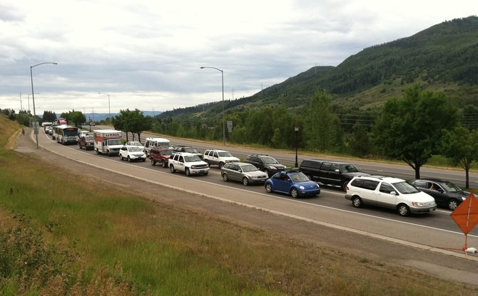 Traffic begins to back up on the way into downtown Steamboat along U.S. Highway 40 on Friday.