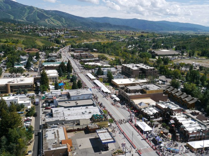 An aerial view of the USA Pro Cycling Challenge on Friday in Steamboat Springs.