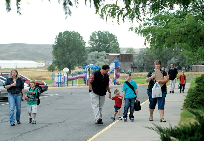 Parents accompanied their children to the first day of school Monday at Ridgeview Elementary School.