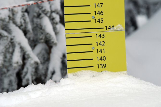 The Steamboat Ski Area's official snow depth measuring stake on Storm Peak shows a record 138 inches on April 4. The 2010-11 ski season was a La Niña year, and climate forecasters are expecting more of the same for this winter.