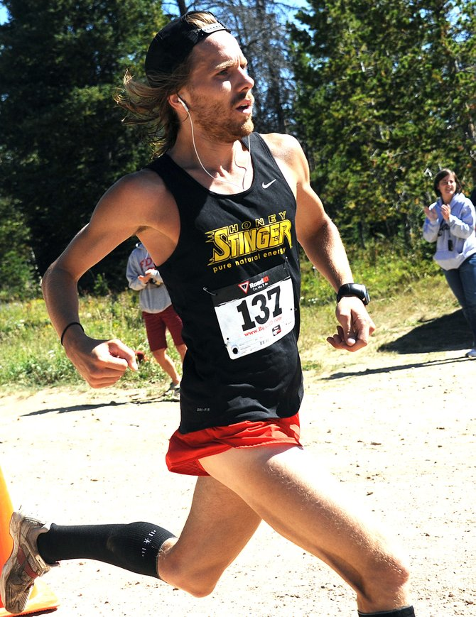 Nicholas Sunseri cruises toward the finish line Sunday in the 10K at 10,000 Steamboat Springs Running Series event in Steamboat Springs. Sunseri won the event, finishing in 42 minutes, 5.91 seconds.