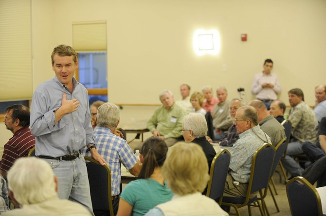 U.S. Sen. Michael Bennet speaks to Hayden residents about the U.S. Farm Bill on Friday night at the Haven Community Center.