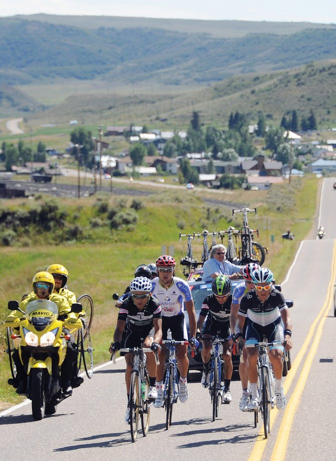 Riders make their way to Steamboat Springs on Aug. 26 during the USA Pro Cycling Challenge. The local group that organized the finish and start stages in Steamboat said it is planning on making another bid to host the event in 2012.
