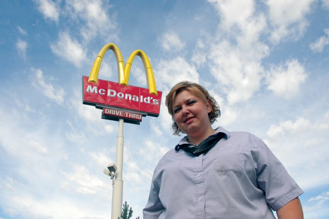 Melissa Hawthorne, of Craig, stands Tuesday in front of the McDonald's restaurant in Craig. Hawthorne, a manager of the restaurant and a 1999 Moffat County High School graduate, is one of 22 semifinalists in the Voice of McDonald's, a worldwide singing competition for McDonald's employees.