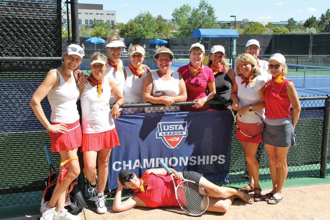 The Steamboat Springs Tennis Center 3.5 Senior Red Team is headed to Boise, Idaho, for the USTA Intermountain Senior League Sectional Championships. Front row, from left, are Catherine Finch, Donna Randolph, Colleen Grubbs and Marlyn Myers. Back row, from left, are Marion Kahn, Lisa Smalley, Roberta Gill, Marci Valicenti, Jean Wolf and Susan Paulis. Lori Waldrop is pictured in front of the sign.