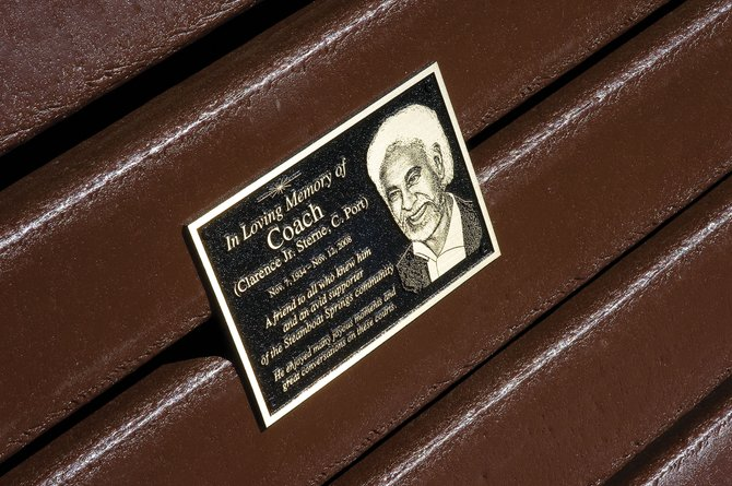 A plaque honoring Clarence Sterne has been placed on a new bench at the tennis courts at Howelsen Hill. Sterne was a regular at the courts before his death in November 2008, and he was a great advocate for Steamboat Springs parks and a supporter of health and fitness.