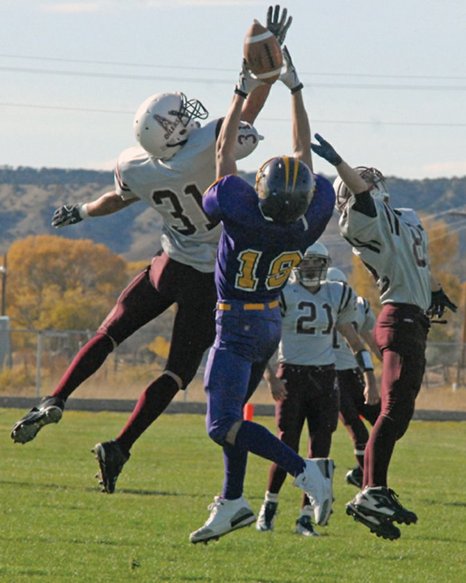 Rex Stanley, a Little Snake River Valley School senior, goes up for a ball during a game last season in Baggs, Wyo. The Rattlers will battle Hanna-Elk Mountain on Friday in a rematch of the 2010 1A Wyoming State Championship game, in which LSRV won, 67-12.