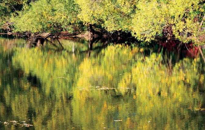 The colors of autumn are reflected in a small lake along Routt County Road 131 in North Routt County.