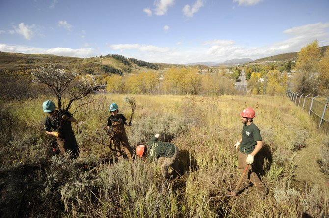 Rocky Mountain Youth Corps crew members, from left, Eric Haggstrom, Christina Cultrara, Karrie Kressler and Jake Baechle work Wednesday on a new trail behind Old Town Hot Springs.