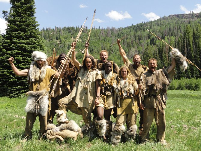 "The cast of ""I, Caveman,"" a two-episode series of the Discovery Channel's ""Curiosity"" show, pose on the final day of the ""Survivor""-like experiment that took place on Routt County's Motherwell Ranch in June. The episode premiered last Sunday. The cast is, from left, Gene Jarvis, Courtney Rice, Manu Toigo, Morgan Spurlock, Janeshia Adams-Ginyard, Lora Jakobsen, Billy Berger and Robb Wolf."