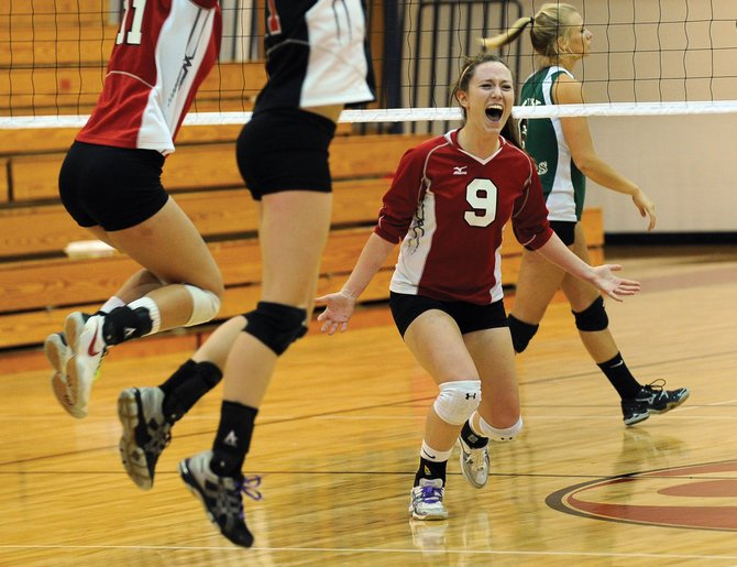 Steamboat Springs Meghan Rabbitt celebrates after Steamboat won Friday night's home match against Delta. Delta won the first two games but could not stop a Steamboat Springs from rallying for a 3-2 win.