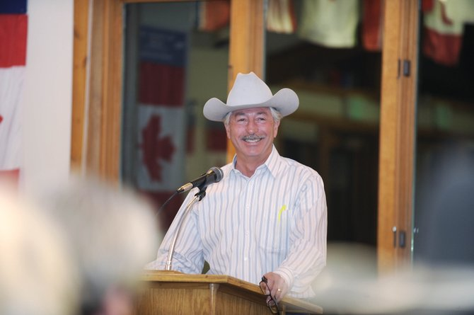 John Salazar, Colorado's commissioner of agriculture, speaks to a group of ranchers Wednesday night at Olympian Hall during an event hosted by Routt County CattleWomen.