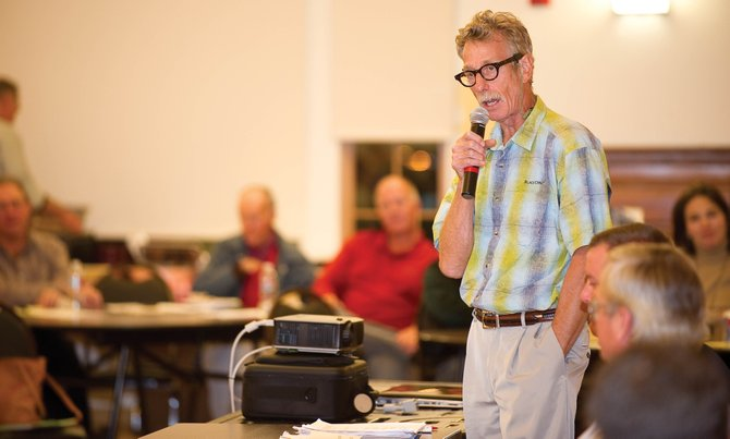 Steamboat Springs City Council candidate Daryl Levin addresses the crowd at an election forum Thursday night at Steamboat Spring Community Center.