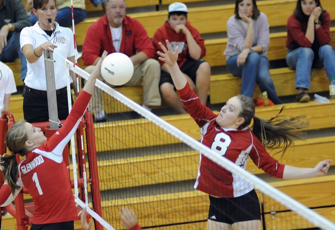 Steamboats Nikki Fry taps the ball over the net Thursday as the Sailors faced Glenwood Springs. Fry scored on the play, but Steamboat lost the match, falling in four games.