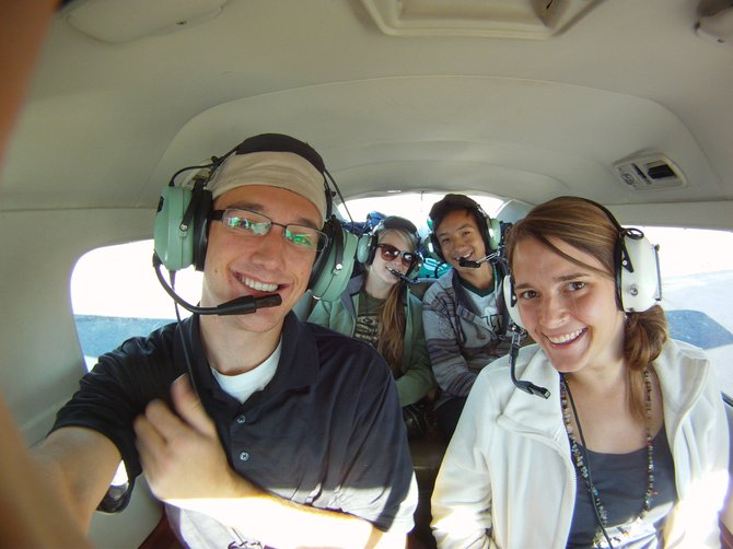 Students, from left, Ben Saheb, Jenna Wirtz, Xavier Rojas, and Ashley Basta are pictured during their Ecoflight tour of national parks.