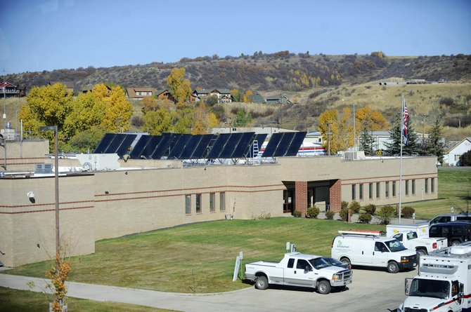 Solar panels installed this week on the roof of the Routt County Jail will be used to help preheat the facility's hot water. The panels were paid for with a $175,000 federal grant.