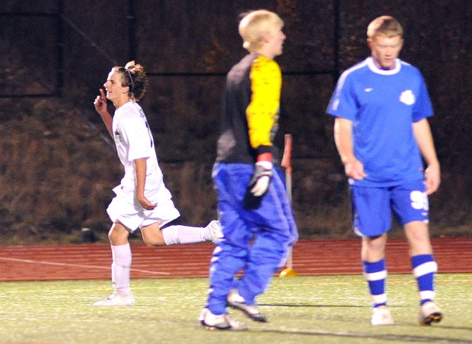 Steamboat's Mac Noel celebrates after scoring a second-half goal Thursday in the Sailors' win against Moffat County. Although Steamboat pulled off a 5-0 victory, it wasn't enough to claim the Western Slope League title as Battle Mountain's win against Eagle Valley on Thursday gave the Huskies the upper hand in the tiebreaker.