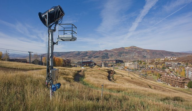A pair of high-volume, tower-mounted snowmaking guns like this one at the bottom of the Voo Doo trail are being installed at the top of the half-pipe in Bashor Bowl to help ensure Steamboat Ski Area can open its terrain park on time for the holiday rush this winter.