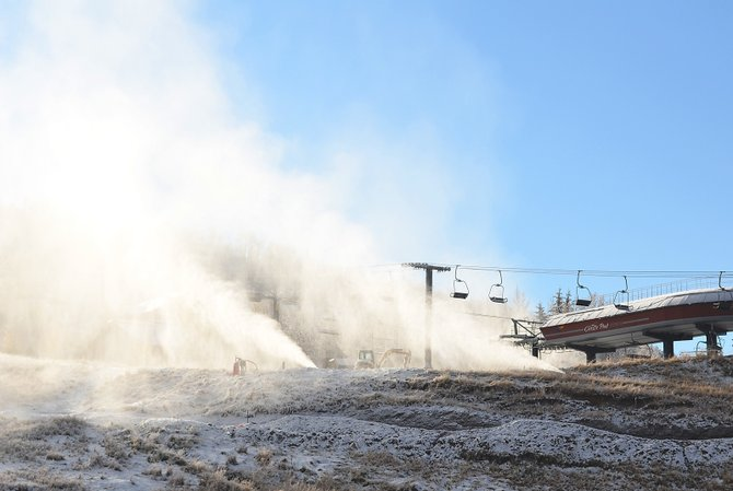Snowmaking efforts were in full swing at the midway station of the Christie Peak Express chairlift at Steamboat Ski Area on Thursday morning as temperatures dipped into the teens.