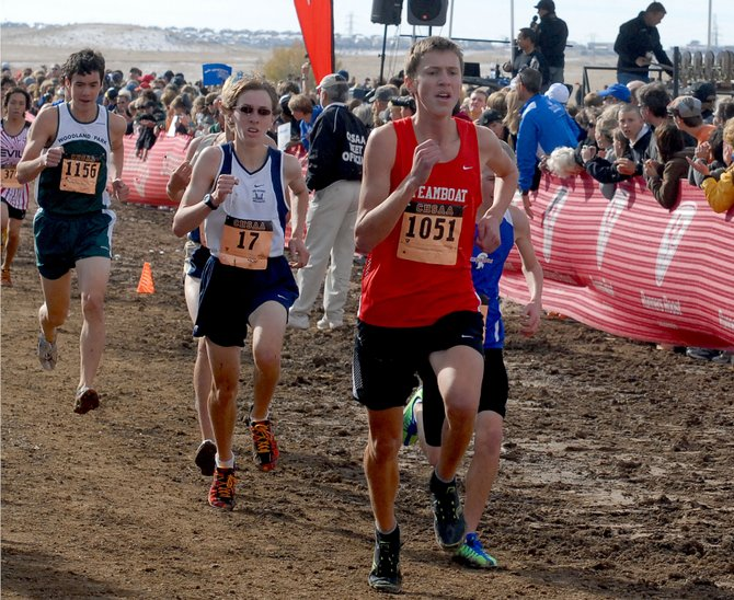 Steamboat Springs runner Asher Rohde leads a pack of runners toward the finish line Saturday during the 4A state cross-country meet at the Arapahoe County Fairgrounds. Rohde finished 42nd with a time of 17 minutes, 43.47 seconds.