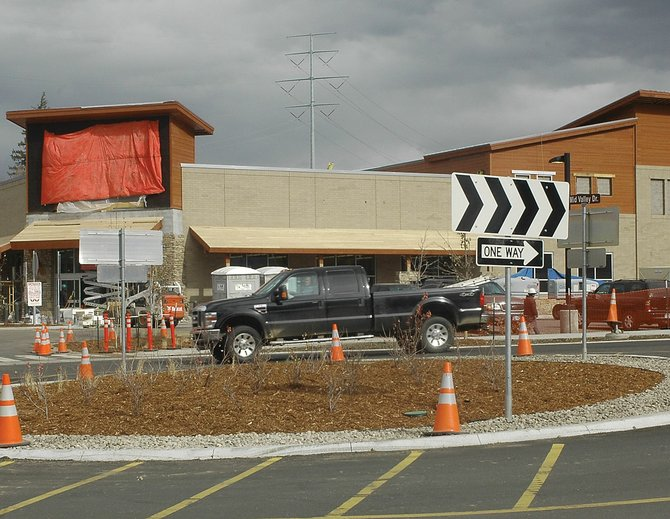 The traffic roundabout is open in front of the new Walgreens on Pine Grove Road, but the store is not expected to open until January. Construction will be complete Nov. 11.