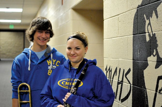 Matt Balderston and Ashlee Douglas, pictured here, are among the 11 Moffat County High School students scheduled to perform with the Northwest Colorado District Eight Honor Band this weekend. The two-day event begins Friday in Aspen and concludes Saturday night with a performance.