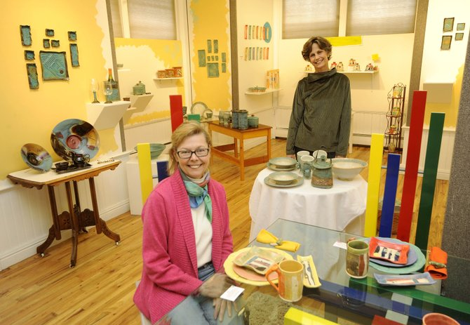 Ceramic artists Deb Babcock, left, and Barb Gregoire will host the All Fired Up! art reception from 5 to 8 p.m. Saturday at the Depot Art Center, 1001 13th St.