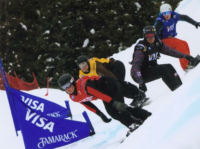 Mick Dierdorff, front, races snowboard cross for the Steamboat Springs Winter Sports Club. Dierdorff is one of many who started in the program at a young age and is now competing at a high level.