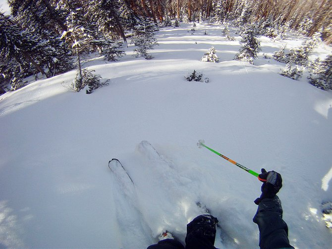 Mike Martin cuts down a Routt County slope last month. That October run marked the 12th consecutive month he'd skied in Routt County, fulfilling a personal goal.