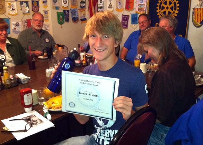 Derek Maiolo, a Moffat County High School sophomore, poses with his certificate on Oct. 25 after being named the Craig Rotary Club's first Student of the Month.