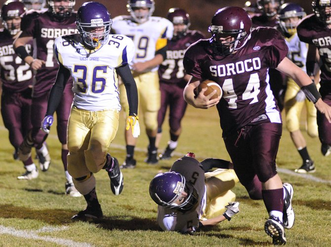 Soroco sophomore Ian Palyo runs for a second-quarter touchdown against West Grand earlier this season. With Hayden moving to 8-man football for next sseason, the three Northwest Colorado rivals of Soroco, West Grand and Hayden again likely will be in the same league. And if year-out projections of mountain-town football teams carry much weight, they could be in for a three-way slugfest.