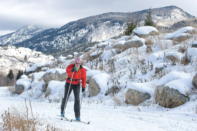 Jenette Settle glides along one of the trails open at the Steamboat Ski Touring Center on Wednesday afternoon. 