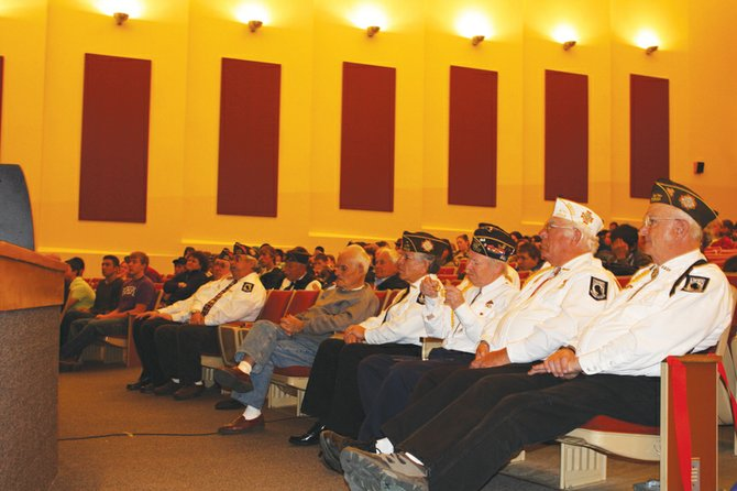 Craig's veterans watch the ceremony at MCHS dedicated to their service. MCHS students gathered in the school's auditorium for Veterans Day activities.