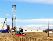 Pictured is Rig 94 at Shell Oil Companys Durham location about a half-mile south of Harper Hill on Moffat County Road 37. Like at Harper Hill, a spokeswoman for Shell said the company is drilling two horizontal wells on the Durham pad. 