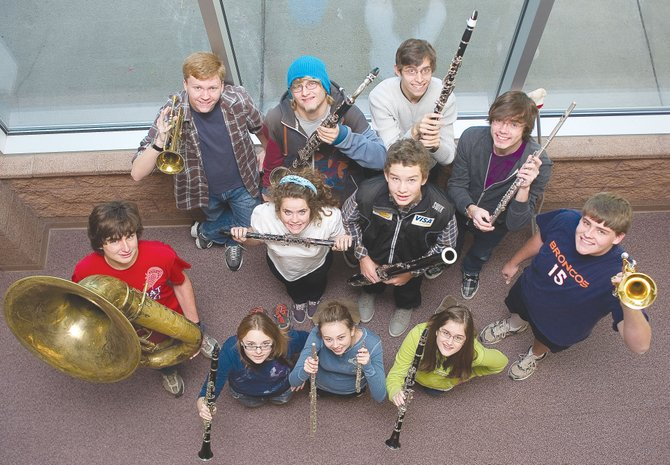 Steamboat Springs High School students who went to Honor Band include, back row from left, Thomas Benson, Eric Samuelson, Lev Tsypin; middle row from left, Kelly Ernst, Jake Barker, Garrison Osteen; front row from left, Dylan Wallace, Samantha Trahan, Claire Cox, McKayla Jackson and Sean Seams. Not pictured are Codi Coughlin and Mary Willingham.